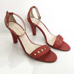 Ankle Strap Heels in Red Leather by Marc Jacobs